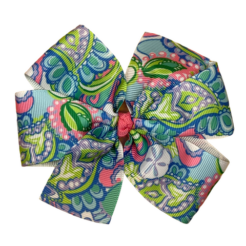 Sand Dollar Patterned Hair Bow Lilly Inspired - Two Sizes