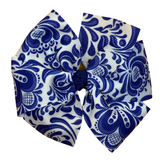 Blue and White Patterned Hair Bow - Two Sizes
