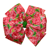 Pink Peonies Hair Bow - Lilly Inspired - Two Sizes