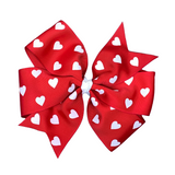 Extra Large Red Pinwheel Bow with White Hearts