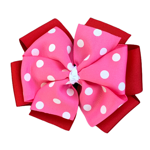 Extra Large Red and Hot Pink Polka Dot Pinwheel Bow
