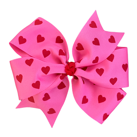 Large Hot Pink Pinwheel Bow with Red Hearts
