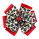 Leopard and Red Layered Pinwheel Bow