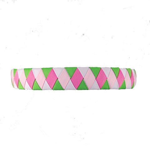 Apple Green, Light Pink, White and Hot Pink Woven Headband