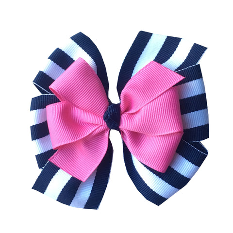 Prep Stripe Layered Hair Bow