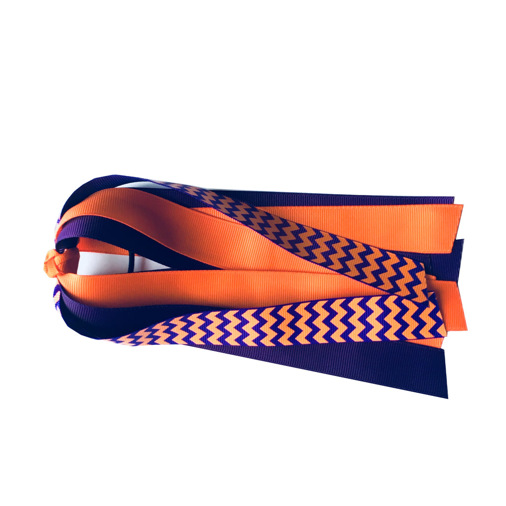Orange and Purple Chevron Ponytail Streamer