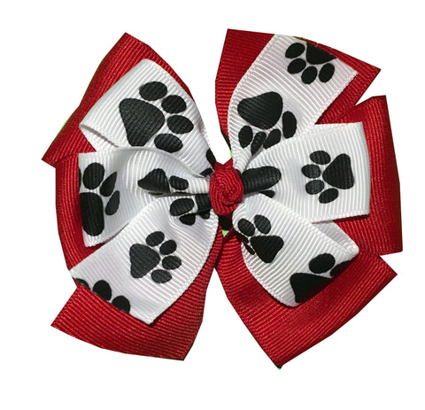 Paw Print Large Layered Pinwheel Bows - Choose Your Colors - Wholesale - Fundraising