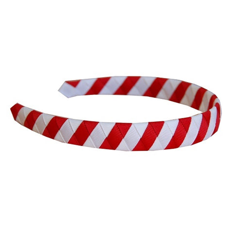 Red and White Striped Woven Headband