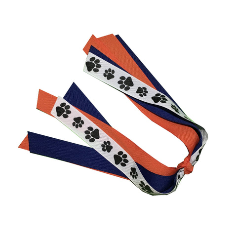 Paw Print Ponytail Streamers - Choose Your Colors - Bulk Order - Wholesale - Fundraising