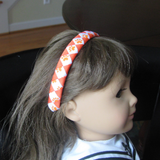 Orange and White Woven Headband with Orange Paw Prints