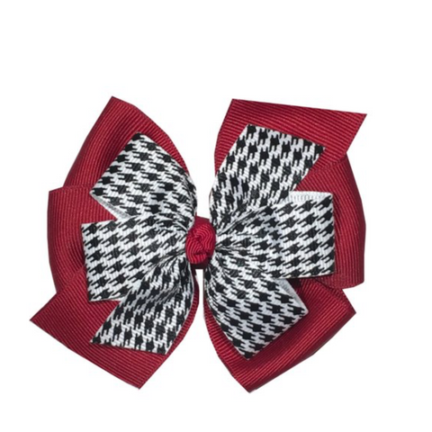 Alabama Houndstooth Layered Hair Bow