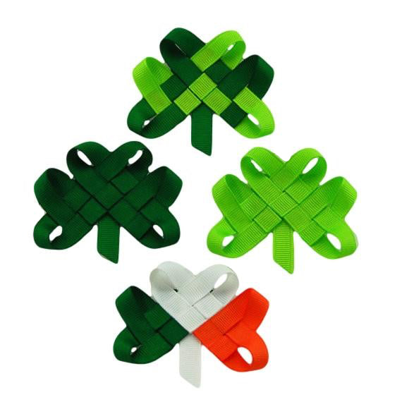 Woven Shamrock Hair Clip or Lapel Pin