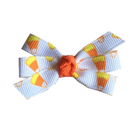 "Candy Corn Small 2"" Pinwheel Hair Bow"