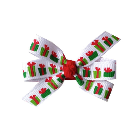 "Christmas Present Small 2"" Pinwheel Hair Bow"