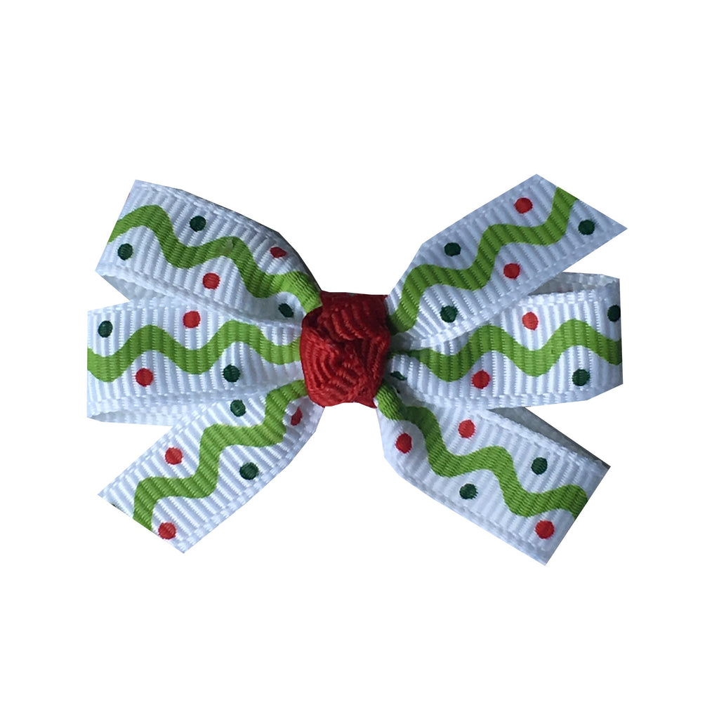 "Wavy Christmas Small 2"" Pinwheel Hair Bow"