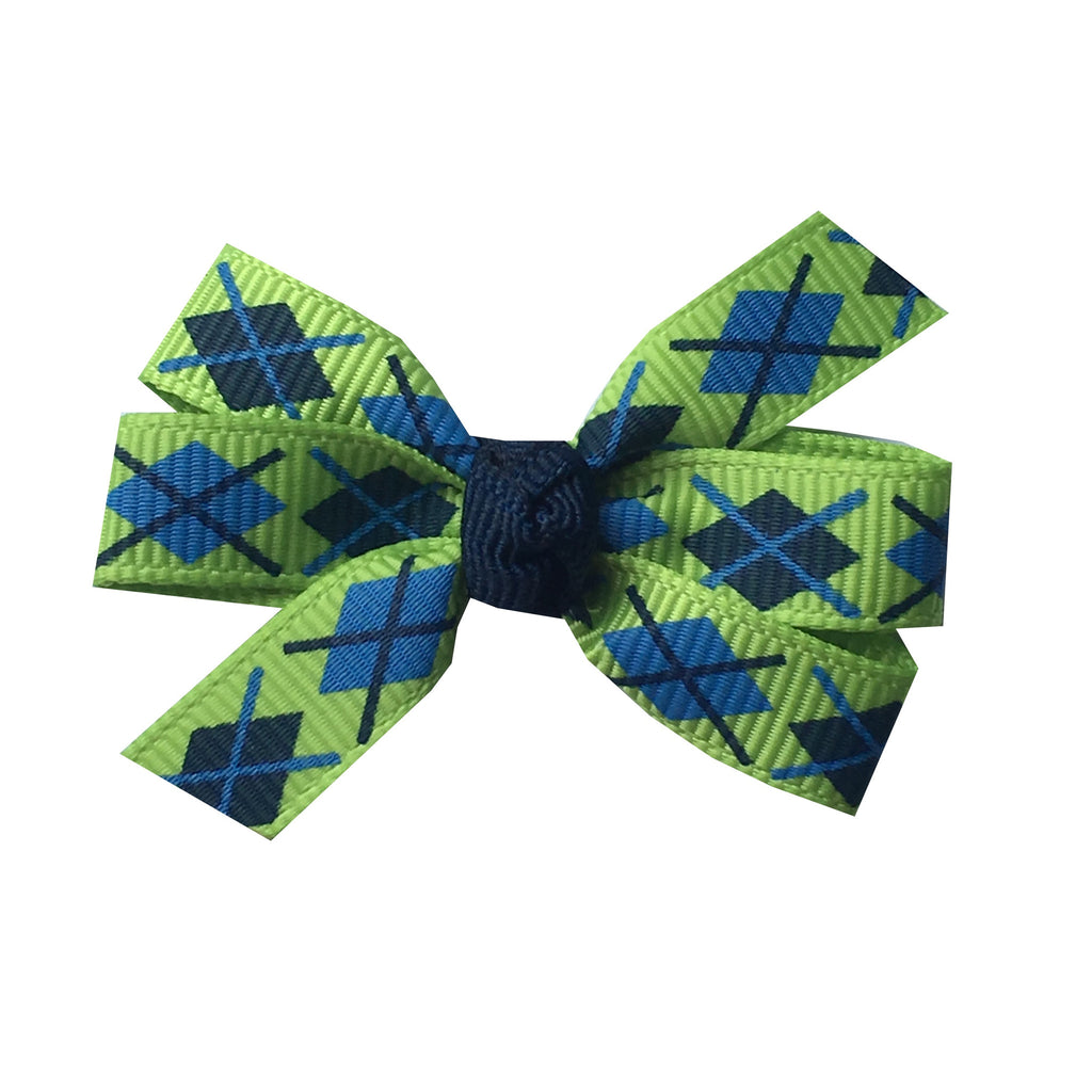 "Green and Blue Argyle Small 2"" Pinwheel Hair Bow"