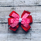 Small Red and Hot Pink Polka Dot Pinwheel Bow