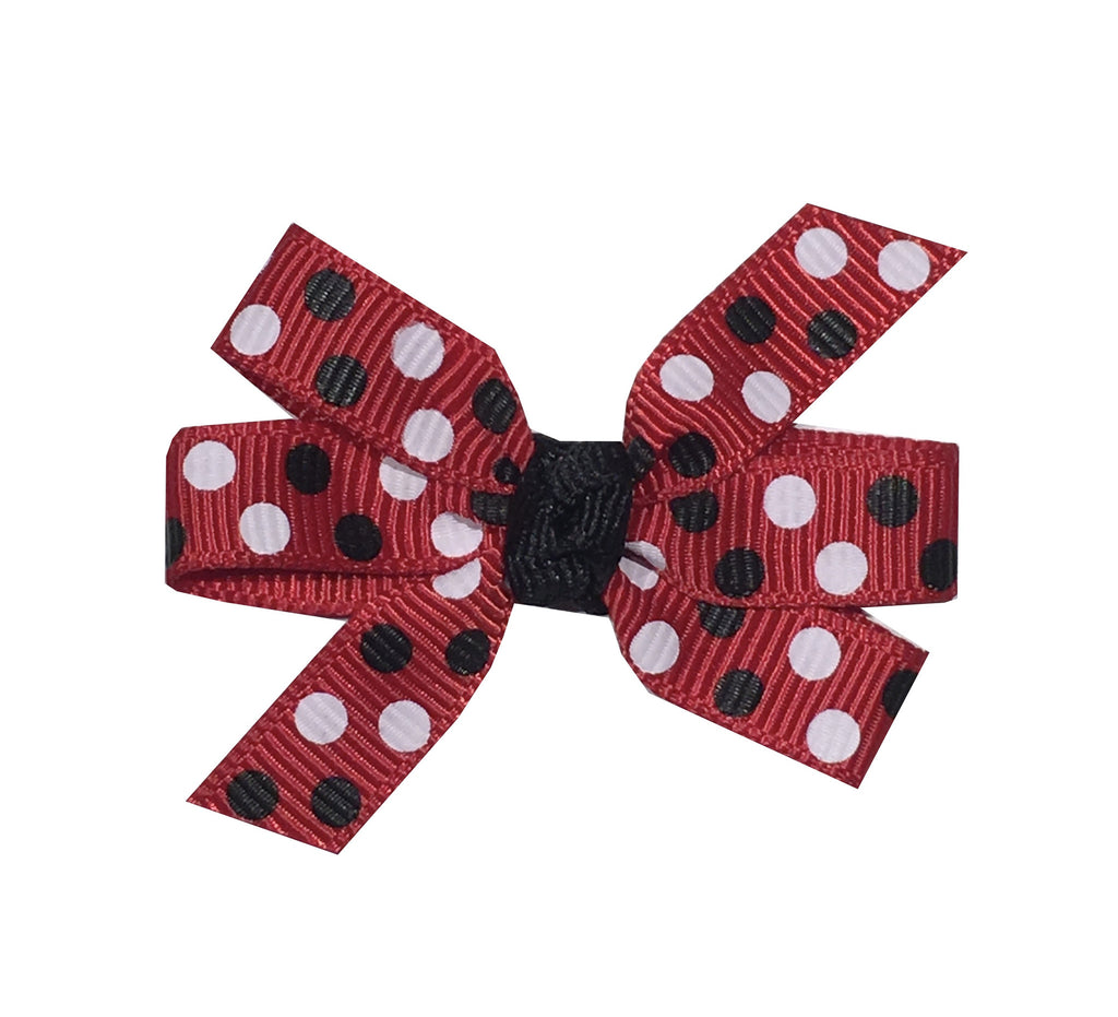 Small Red Bow with Black and White Dots