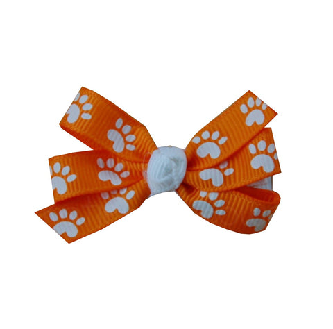 "Orange White Paw Small 2"" Pinwheel Hair Bow"