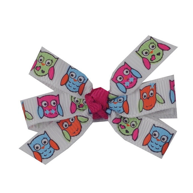 "Owl Hair Bow - Small 2"" Pinwheel Bow"