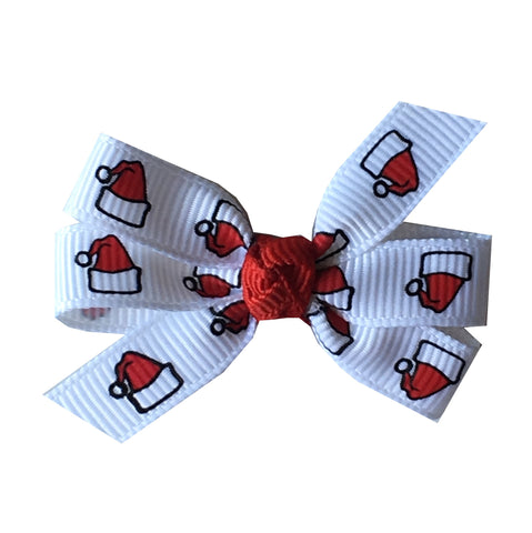 "Santa Hat Small 2"" Pinwheel Hair Bow"
