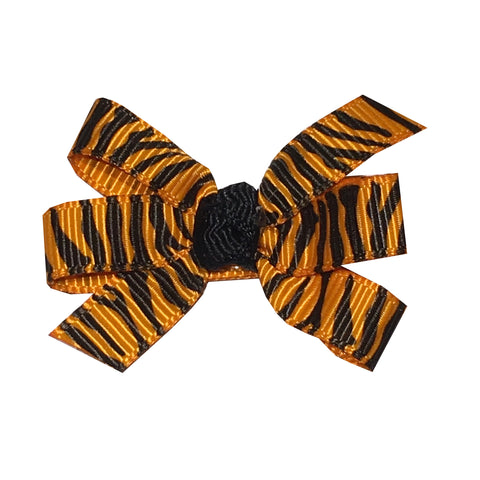"Small 2"" Tiger Stripe Pinwheel Bow - Tangerine Orange and Black"