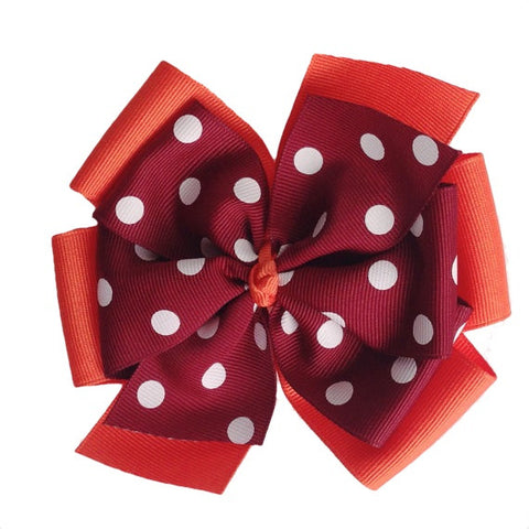 Maroon and Orange Extra Large Layered Hair Bow with Polka Dots