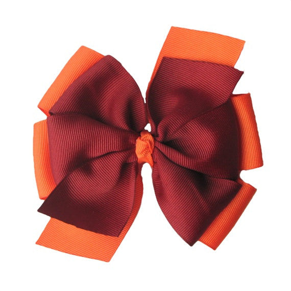 Orange and Maroon Extra Large Layered Pinwheel Bow