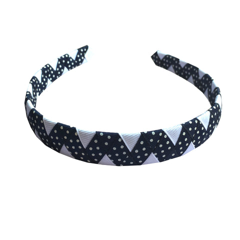 Navy and White Dot ZigZag Headband
