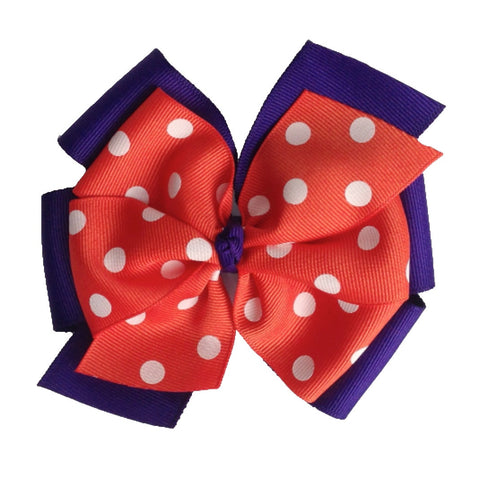 "Orange and Purple Extra Large 5"" Layered Pinwheel Bow"