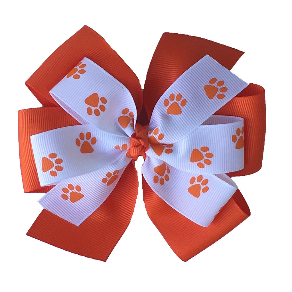 "Clemson Extra Large 5"" Stacked Paw Print Hair Bow"