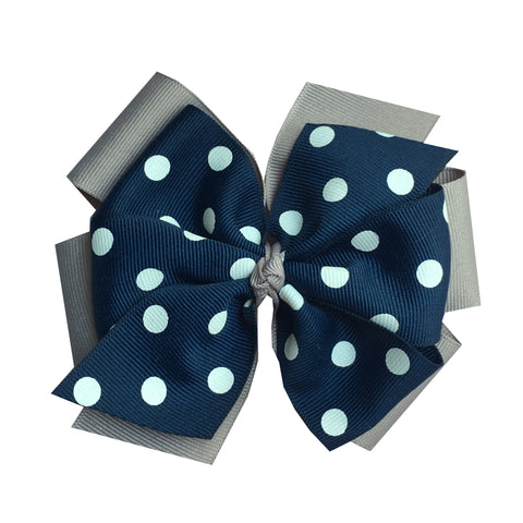 Extra Large Layered Grey and Navy Polka Dot Hair Bow