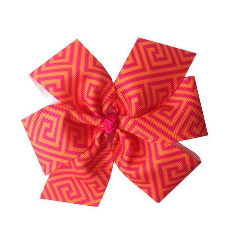 Orange and Magenta Pinwheel Hair Bow