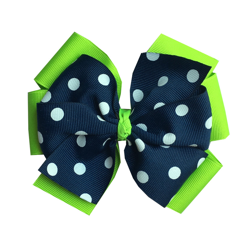 Extra Large Layered Lypple Green and Navy Polka Dot Hair Bow