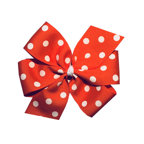 "Extra Large 5"" Orange Polka Dot Hair Bow"
