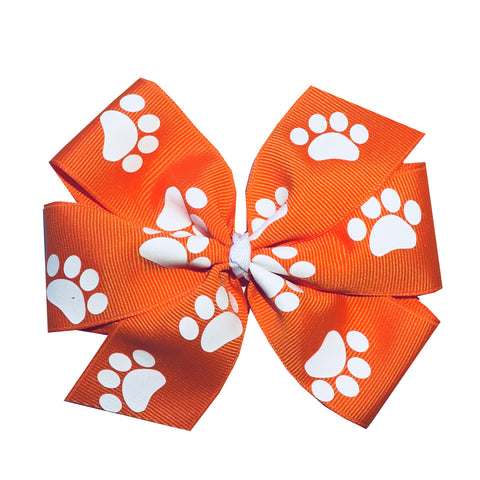 "Extra Large 5"" Clemson Orange Paw Print Pinwheel Hair Bow"