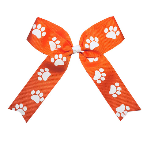 "Extra Large 5"" Wide Tails Down Clemson Orange Paw Print Hair Bow"