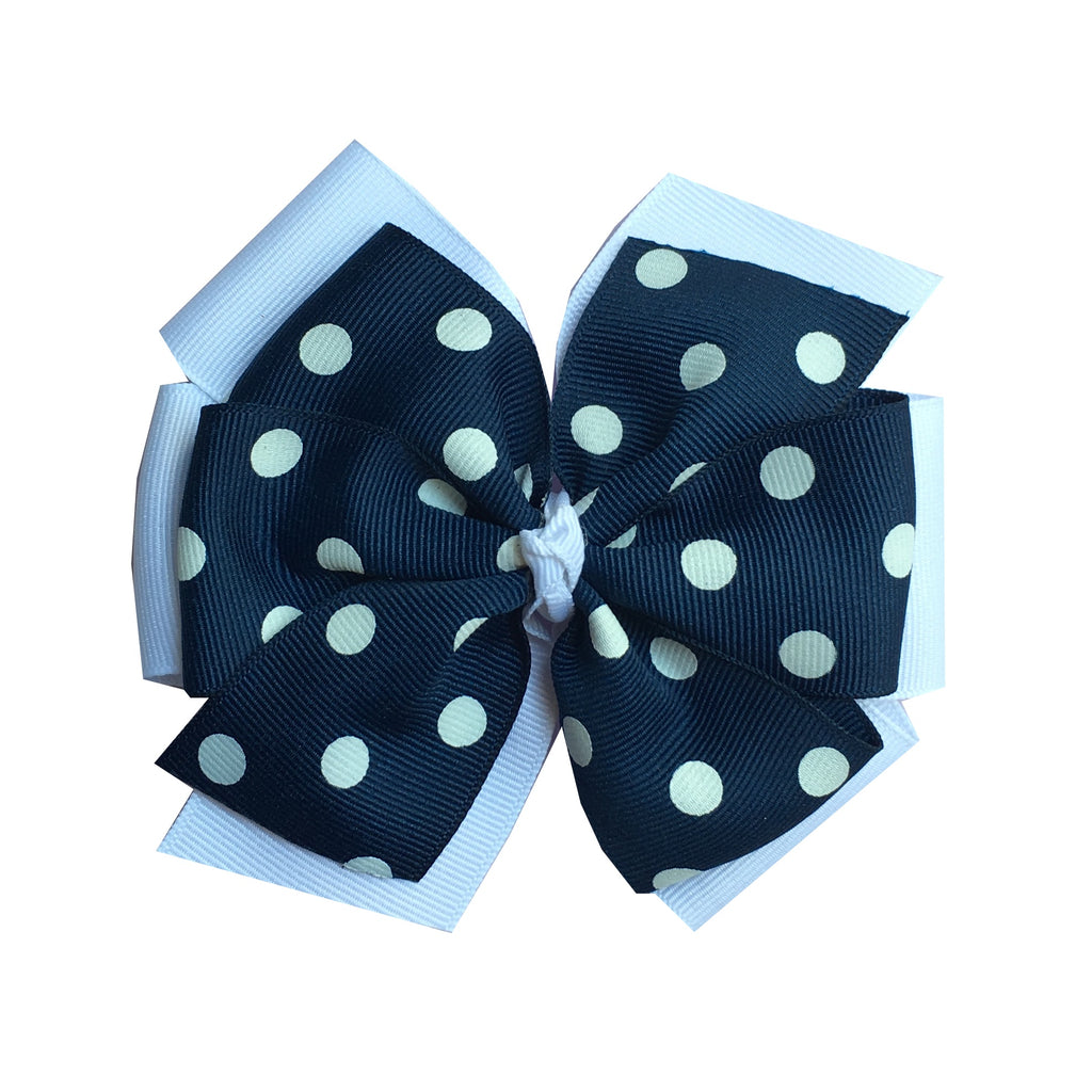 Extra Large Layered White and Navy Polka Dot Hair Bow