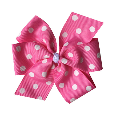 Extra Large Hot Pink Polka Dot Hair Bow