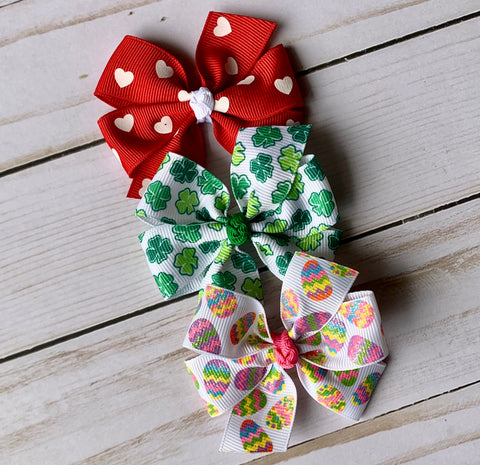 Medium Holiday Hair Bow Set #1