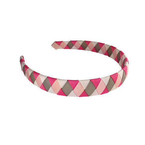 Pink, White and Grey Woven Headband