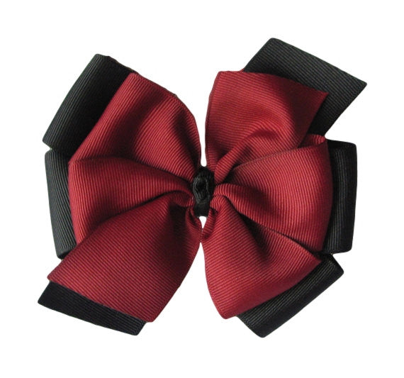 Black and Garnet Layered Hair Bow - Multiple Sizes
