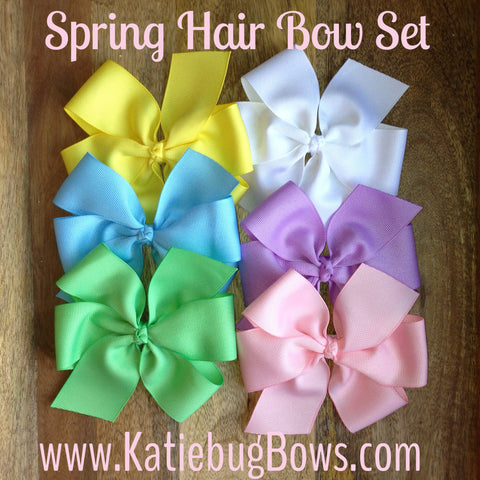 Pastel Hair Bow Bundle - Get Six Beautiful Spring Hair Bows - Four Sizes