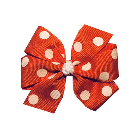 "Medium 3"" Orange Polka Dot Hair Bow"