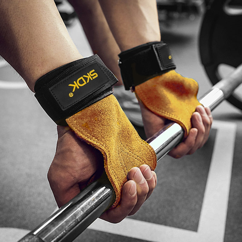 SKDK 1Pair Cowhide Gym Gloves