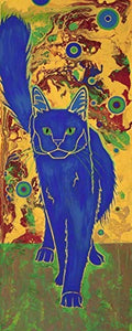 Gato Azul, Cat Pop Art Print, Colorful Animal Art by Angela Bond
