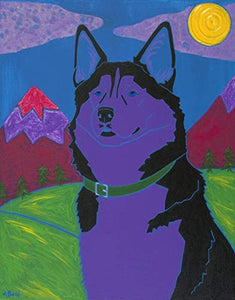 Working Class Dog - Husky Art MATTED Print - Dog Pop Art by Angela Bond