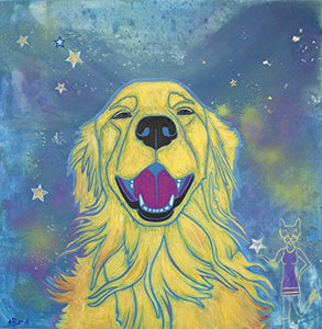 Sunshine Smiles - Golden Retriever Art Print - Colorful Dogs by Angela Bond