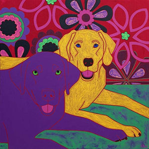 Two Labs Dog Art MATTED Print - Animal Art by Angela Bond