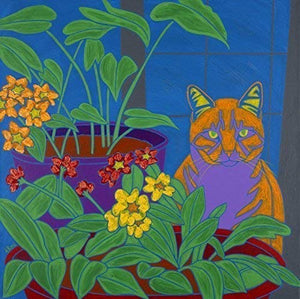 Tabby in Flowers Cat Art - Tabby Cat Print - Colorful Animal Art by Angela Bond